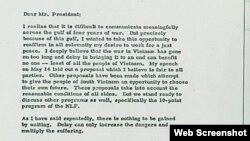Thư của TT Richard Nixon gửi Chủ tịch Hồ Chí Minh ngày 15/07/1969. Photo VOV