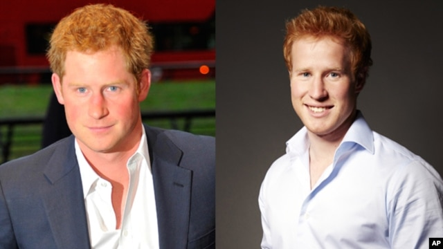 "The real Prince Harry (left) in London earlier this month. Prince Harry lookalike and star of the reality dating show, ""I Wanna Marry Harry"" Matthew Hicks (right)."