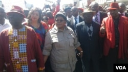 FILE: MDC-T leader Morgan Tsvangirai and his wife Elizaberth, Zimbabwe People First leader Joice Mujuru, ZimFirst's Didymus Mutasa, Nelson Chamisa of MDC-T