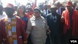 MDC-T leader Morgan Tsvangirai and his wife Elizaberth, Zimbabwe People First leader Joice Mujuru, ZimFirst's Didymus Mutasa, Nelson Chamisa of MDC-T