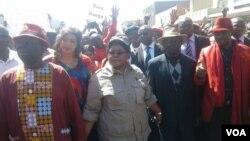 FILE: MDC-T leader Morgan Tsvangirai and his wife Elizaberth, Zimbabwe People First leader Joice Mujuru, ZimFirst's Didymus Mutasa, Nelson Chamisa of MDC-T