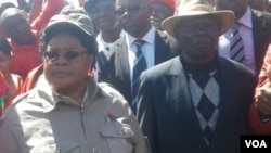 FILE: Zimbabwe People First leader Joice Mujuru and ZimFirst's Didymus Mutasa.