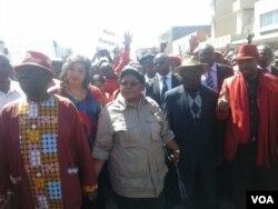 MDC-T leader Morgan Tsvangirai and his wife Elizaberth, then Zimbabwe People First leader Joice Mujuru, ZimFirst's Didymus Mutasa, Nelson Chamisa of MDC-T.