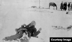"Iconic photo of Minneconjou Lakota leader Si Tanka (Spotted Elk, nicknamed by cavalry ""Big Foot"") frozen in the snow following the 1890 massacre at Wounded Knee. , one of"