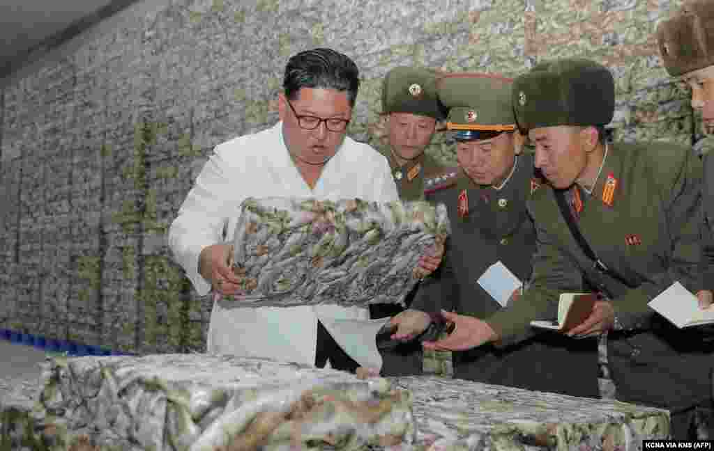 This undated picture released from North Korea's official Korean Central News Agency (KCNA) shows North Korean leader Kim Jong Un (L) visiting a fishery station at an undisclosed location.
