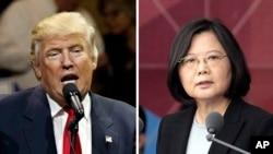 美国总统当选人川普(左)与台湾总统蔡英文