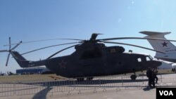 2015年莫斯科航展上的米-26直升机。(美国之音白桦拍摄)