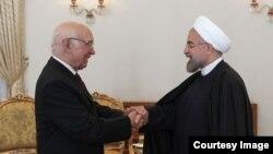 سرتاج عزیز مشاور نخست وزیر پاکستان با حسن روحانی رئیس جمهوری ایران