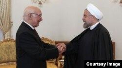 دیدار سرتاج عزیز فرستاده ویژه نخست وزیر پاکستان با حسن روحانی رییس جمهوری ایران - ۸ اردیبهشت ۱۳۹۳