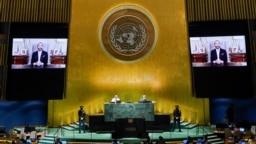 El presidente de El Salvador, Nayib Bukele, interviene mediante un vídeo pregrabado en la Asamblea General de las Naciones Unidas, en Nueva York, el 23 de septiembre de 2021.