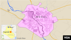 ແຜນທີ່ເຂດເມືອງ Mosul ຂອງປະເທດອີຣັກ