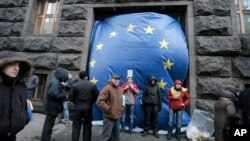 Protesters cover an entrance to the Cabinet of Ministers with a huge EU flag in Kyiv, Ukraine, Dec. 2, 2013.
