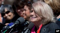 Plaintiff Edith Windsor speaks to reporters in Washington, March 27, 2013