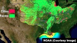 A NOAA map of the dead zone in the Gulf of Mexico. Runoff from farms and cities drains into the Mississippi River.