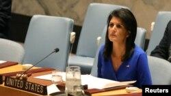 نیکی هیلی نماینده آمریکا در سازمان ملل متحد در نشست اضطراری شورای امنیت در مورد سوریه - ۱۶ فروردین ۱۳۹۶