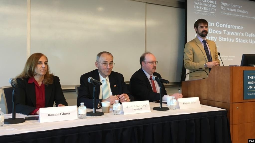 喬治華盛頓亞洲研究中心專家討論台灣安全防衛與美國政策(美國之音鐘辰芳拍攝)