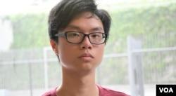 香港中文大學學生會會長區倬僖。(美國之音湯惠芸攝)