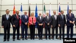 Участники заключения соглашения между Ираном и шестью мировыми державами об ограничении иранской ядерной программы. Вена, Австрия. 14 июля 2016 г.