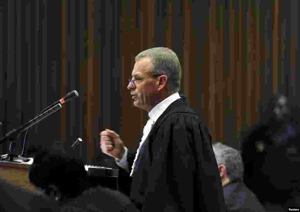 State Prosecutor Gerrie Nel speaks during the closing arguments in the trial of Oscar Pistorius, in the North Gauteng High Court, in Pretoria, Aug. 7, 2014.