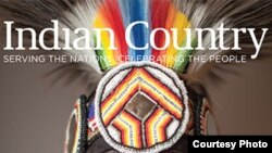 Detail from cover of debut issue of Indian Country magazine, a bimonthly magazine launched in April 2016 and discontinued five months later. Courtesy, Indian Country Today Media Network.
