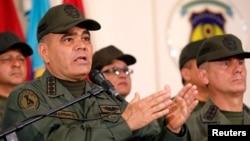 Venezuela's Defense Minister Vladimir Padrino Lopez attends a news conference in Caracas, Venezuela, Feb. 19, 2019.