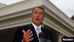 Ketua DPR AS John Boehner setelah bertemu dengan Presiden Barack Obama di Gedung Putih (1/3). (Reuters/Larry Downing)