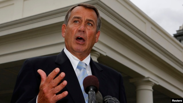 U.S. Speaker of the House John Boehner speaks briefly after a meeting with U.S. President Barack Obama at the White House, March 1, 2013.
