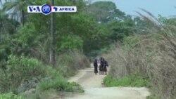 Ahari higanje amazu yasenyutse mu majyepfo y'intara ya Casamance muri Senegali harimo kubakwa amazu mashya
