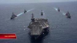 Tàu sân bay USS Carl Vinson tập trận với Nhật trên Biển Đông