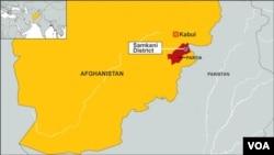 Peta wilayah Samkani, provinsi Paktia, Afghanistan.