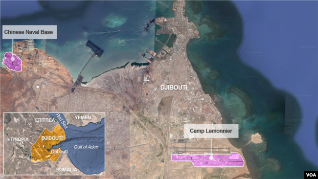 FILE - A Chinese naval base and U.S. base Camp Lemonnier, in Djibouti.
