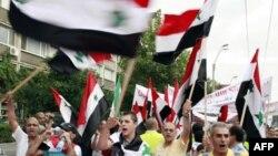 Người Syria tại Bucharest biểu tình chống Tổng thống Syria Bashar al-Assad (ảnh tư liệu ngày 2 tháng 9, 2011)