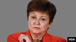 Kristalina Georgieva headshot, as International Monetary Fund Managing Director, graphic element on gray