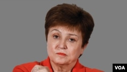 Kristalina Georgieva headshot, as International Monetary Fund Managing Director, graphic element on gray