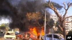 Snimak poprišta današnje eksplozije u Damasku koji je emitovala sirijska državna novinska agencija SANA