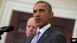 Presiden AS Barack Obama memberikan keterangan pers mengenai rencana memerangi ISIS hari Rabu (11/2).