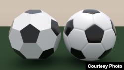 Trái banh bóng đá tương đương với hình 20 mặt trắng với góc cạnh được gọt bớt đi bằng hình ngũ giác. (Hình: Dysfunctional/Wikimedia/PD)