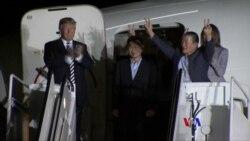 2018-05-10 美國之音視頻新聞: 北韓關押的三名美國公民抵達華盛頓 川普總統登機 歡迎