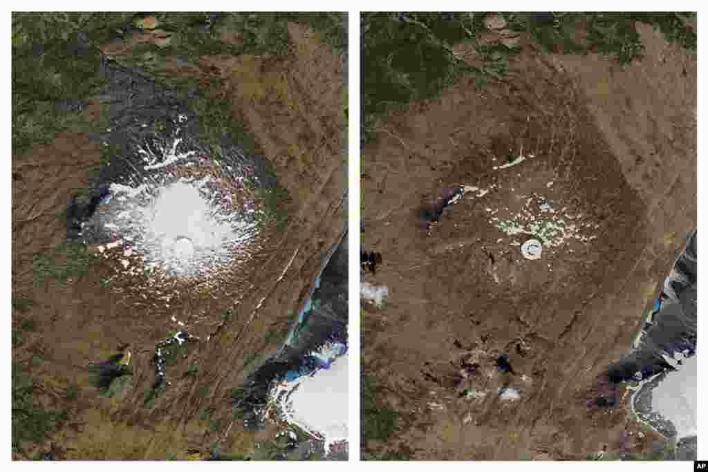 'اوکجو کل' گلیشیئر چھ مربع میل سے زائد رقبے پر پھیلا ہوا تھا۔ زیرِ نظر تصویروں میں سے ایک 1986 میں لی گئی تھی جب گلیشیئر پر برف موجود تھی جب کہ دائیں ہاتھ والی تصویر اگست 2019 کی ہے جس میں گلیشیئر ختم ہوتے دیکھا جا سکتا ہے۔