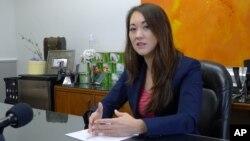 Rep. Beth Fukumoto talks with reporters in her capitol office, Feb. 1, 2017, in Honolulu.