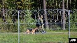 Белорусские пограничники патрулируют границу с Литвой, 23 мая 2021 года