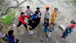 Syrian refugee children at play in Sidon, Lebanon.