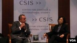 民進黨主席蔡英文與前美國亞太助卿坎貝爾對談(美國之音鍾辰芳拍攝)