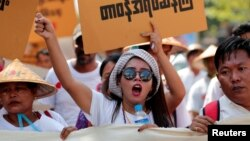 Activists protest against government-backed amendments to Myanmar's protest law, in Yangon, Myanmar, March 5, 2018.