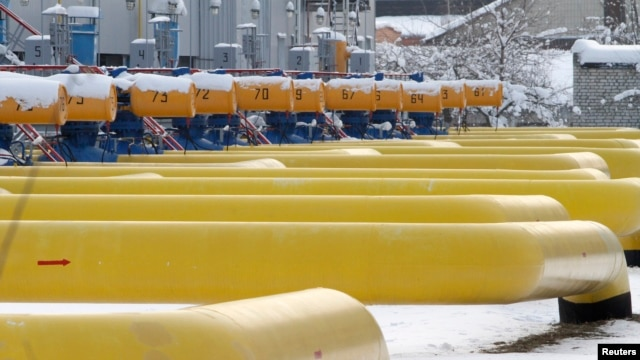 FILE - Pipes are seen at a gas compressor station in the village of Boyarka, outside Kyiv, Ukraine, Dec. 19, 2012.