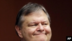 Greece's Finance Minister Evangelos Venizelos attends a Eurogroup meeting at the European Union council headquarters in Brussels February 9, 2012.