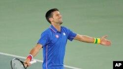 Novak Djokovic à l'Olympics Tennis de Rio le 7 aout 2016.