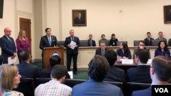 美國國會及行政當局中國委員會(CECC)2020年3月11日召開就維吾爾強迫勞動問題召開討論會。 (美國之音記者李逸華攝)