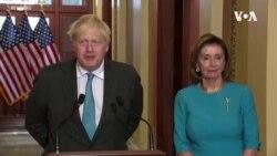 英國首相約翰遜在國會山與眾議院議長佩洛西會面