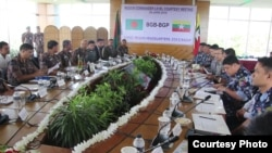 Bangladesh and Myanmar border guards meeting.